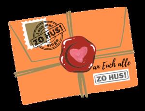 Wir schreiben einen Brief an Euch alle per Briefumschlag